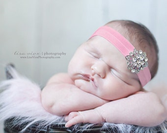 BEJEWELED Headband..Pink Baby Headband..Newborn Baby Girl Photo Prop..Baby Girl Rhinestone Headband..Infant Headband..Photoprop