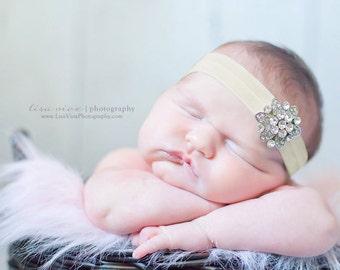 BEJEWELED Headband..Ivory Baby Headband..Newborn Baby Girl Photo Prop..Baby Girl Rhinestone Headband..Infant Headband..Photoprop