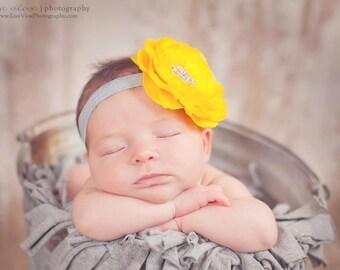 Baby Headband..Baby Girl Flower Headband..Baby Flower Headband..Yellow Flower on Gray Headband with Rhinestones.