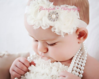 Baby Girl Christening Headband..Baby Girl Baptism Headband..White Baptism Headband..White Christening Headband..Chiffon Headband..White