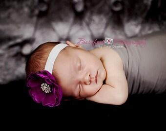 Baby Headband..Baby Girl Purple and White Flower Headband..Toddler Headband..Infant Headband..Purple and White Flower Headband