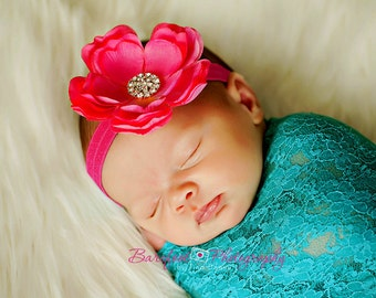 Baby Girl Headband..Baby Headband..Baby Hot Pink Flower Headband..Baby Girl Hot Pink Flower Headband..Hot Pink Flower Headband