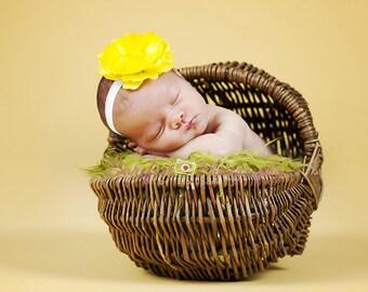 Baby Girl Yellow Flower Headband..Rhinestones..Yellow and White Headband..Infant Flower Headband..Toddler Flower Headband..Newborn Headband