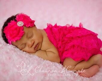 Baby Flower Headband..Baby Girl Headband..Newborn Headband..Hot Pink Chiffon Flower Headband..Newborn/Baby/Toddler/Girl/Baby Headband