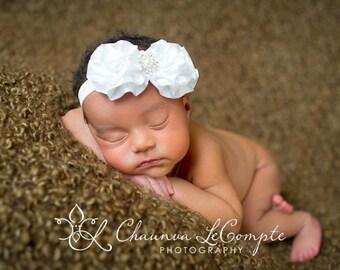Baby Girl White Headband..Pearls..Rhinestones..White Christening Headband..Pearls..White Baptism Headband..Baby Girl White Flower Headband