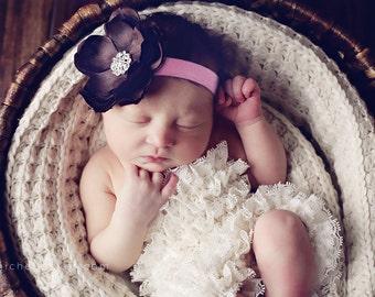 Baby Headband..Baby Flower Headband..Baby Girl Flower Headband..Brown and Pink Flower Headband..Pink and Brown Flower Headband