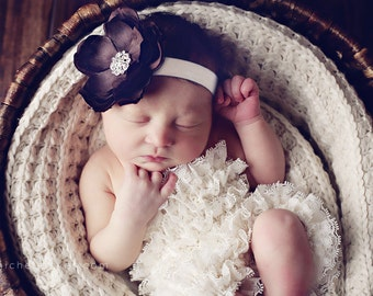 Baby Headband..Baby Flower Headband..Baby Girl Flower Headband..Brown and Ivory Flower Headband..Ivory and Brown Flower Headband