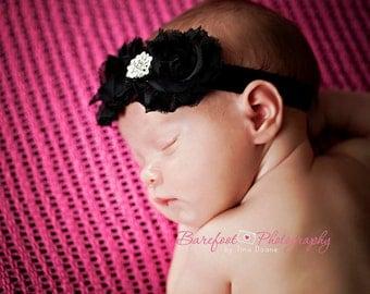 Baby Headband..Baby Girl Headband..Black Flower Headband..Black Headband for Girls..All Sizes