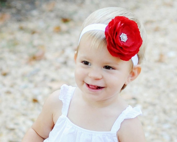 Baby Girl Red Flower Headband...Baby Red Flower Valentines Day Headband...Large Red Flower.Toddler Headband. Infant Flower Headband