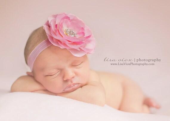 Baby Headbands..Baby Flower Headbands..Newborn Baby Pink Flower Headband..Baby Girl Pink Flower Headband..Pink Flower Headband..Rhinestones