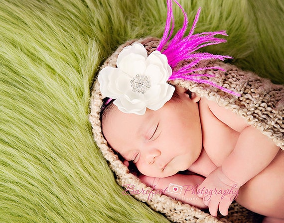 Baby Headbands..Infant Headband..Baby Girl Flower Headband..White Flower on Hot Pink Headband with rhinestones and Hot Pink Ostrich Feathers