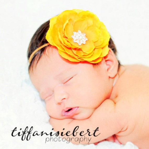 Baby Girl Yellow Flower Headband..Rhinestones..Yellow  Headband..Infant Flower Headband..Toddler Flower Headband..Newborn Headband