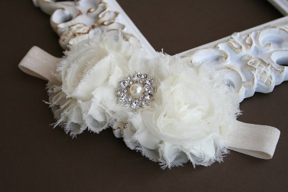 Baby Girl Ivory Headband..Pearls..Rhinestones..Ivory Christening Headband..Pearls..Ivory Baprism Headband..Baby Girl Ivory Flower Headband
