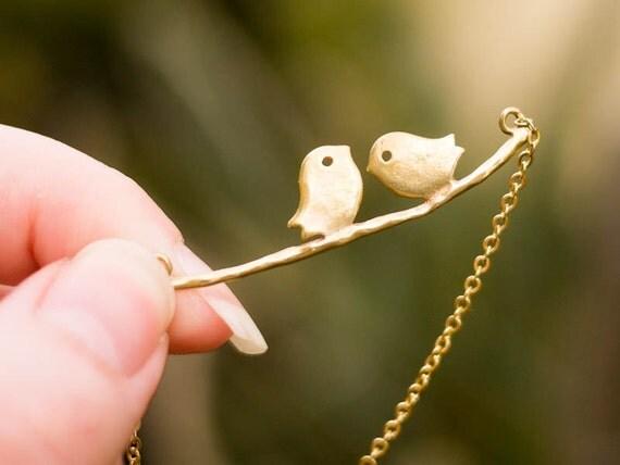 Tweet.. Golden Twin Birds Necklace in Gold