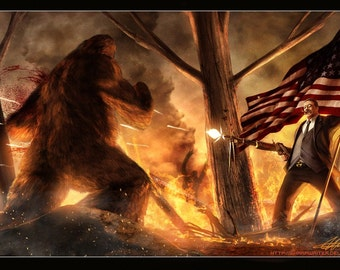 Teddy Roosevelt Vs. Bigfoot *various sizes available*