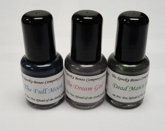Are You Afraid of the Dark Nail Polish Lacquer Glow in the Dark The Full Moon Dead Man's Float and The Dream Girl