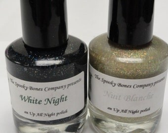 White Night Nail Polish Lacquer Black Silver and Multi Color Glitter
