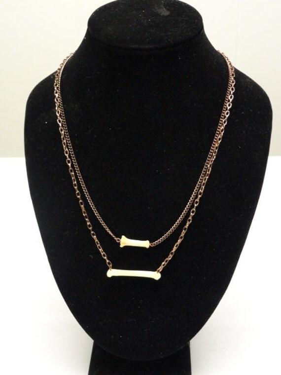 Muskrat Bone Double Layer Bronze Chain Necklace