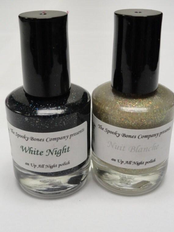 White Night Nail Polish Lacquer Black Silver and Multi Color Glitter