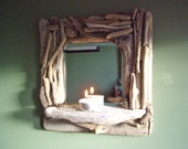 Small Driftwood Mirror with Shelf