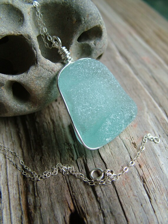 Aqua Sea Glass Necklace, Channel Set in Sterling Silver