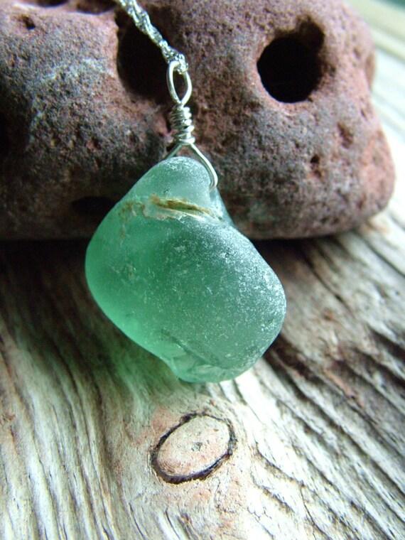 Reserved for Manjula - Bonfire Sea Glass Necklace - Seafoam Green