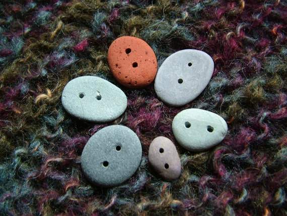 6 Beach Stone Pebble Buttons