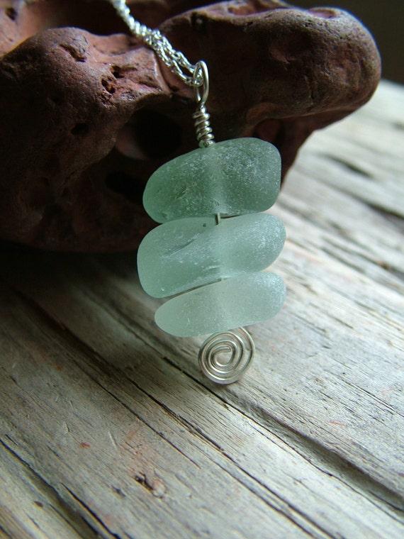 Seafoam Sea Glass Necklace - Iced Gems