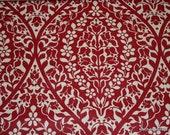 1970's Vintage Wallpaper Red Damask fabric backed vinyl wallpaper