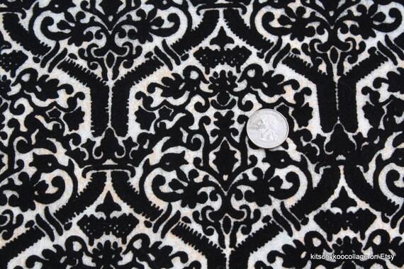 1970's Black Flocked Vintage Wallpaper