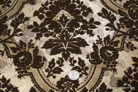 1970's Chocolate and Gold Flocked Vintage Wallpaper