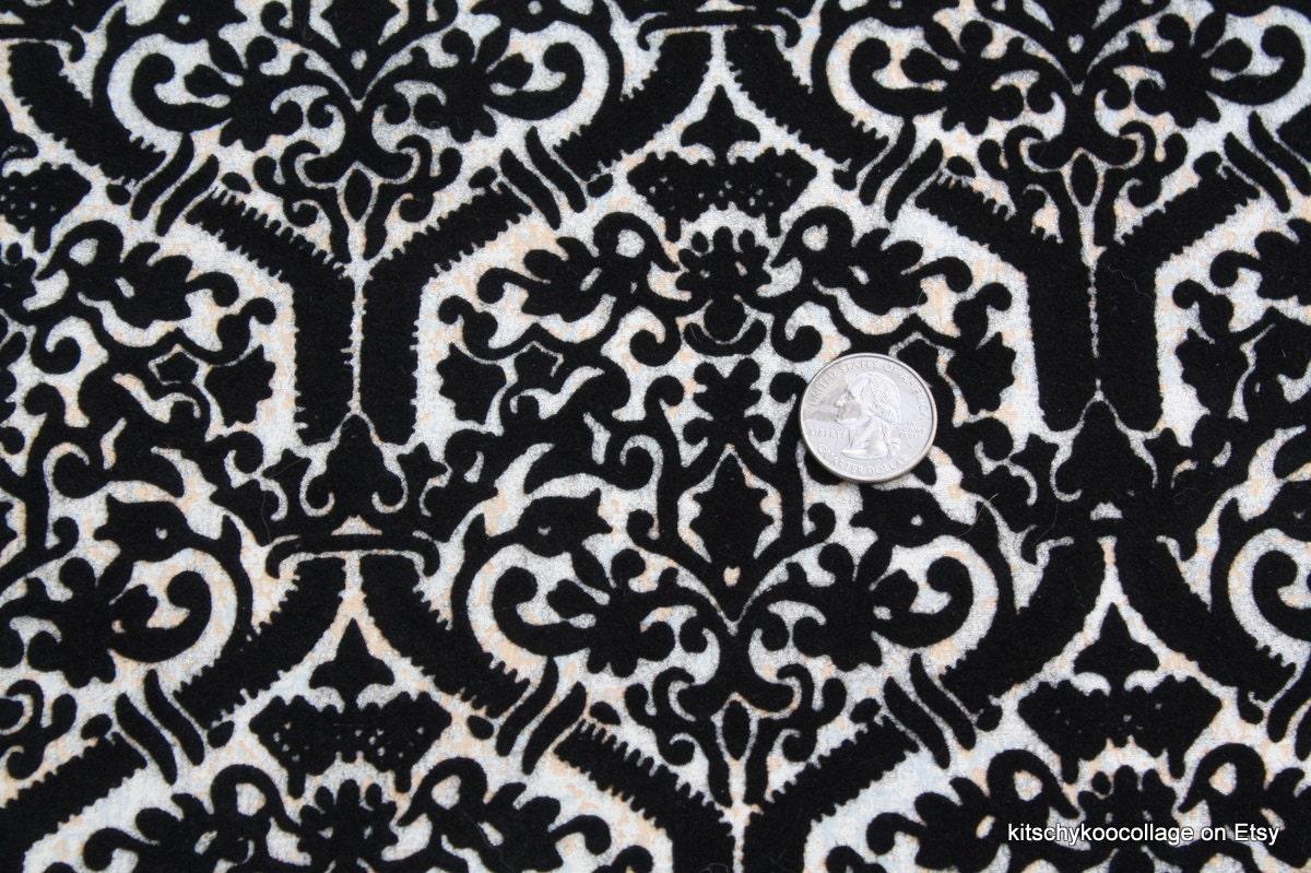 1970 39 s black flocked vintage wallpaper for Flock wallpaper