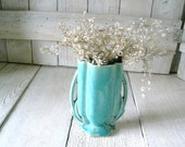 Vintage aquamarine vase Art Deco