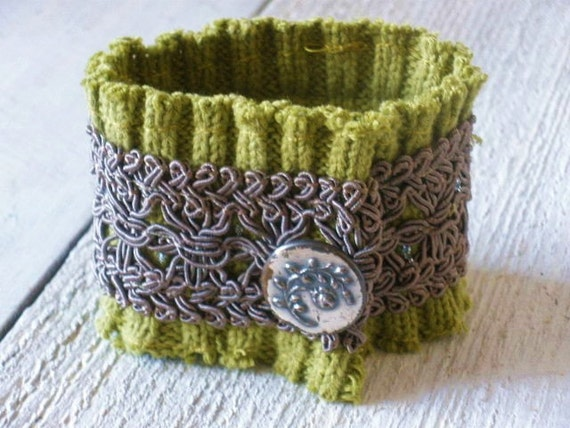 Cuff bracelet upcycled knit sweater green embellished