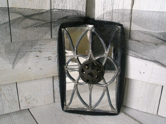Vintage leaded glass mirror Victorian Gothic