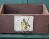 Upcycled Antique Wooden Crate with handpainted Wind Mill Art - 1941 Rustic & hip