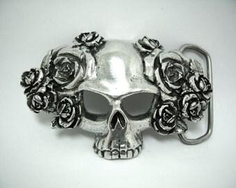 Skull & Roses Belt Buckle