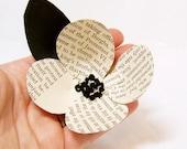 1 Vintage Book Page Flower -Boutonniere Idea -Paper Flower -Wedding Decor -Black White Wedding -DIY Wedding Accessory -Eco Friendly