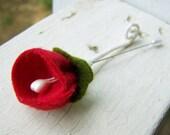 Felt Boutonniere -Wedding Decoration -Red Wedding -Valentines Wedding-DIY Wedding Accessory