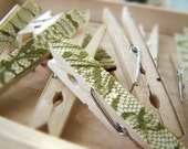 SALE -Set of 5 Lace Clothespins -Sage -DIY Wedding Accessory -Shabby Chic Wedding -Woodland Wedding -Country Wedding