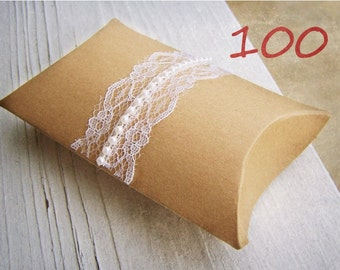 100 Pearls and Lace Pillow Boxes -Rustic Wedding Decoration -Woodland Wedding -DIY Wedding Accessory