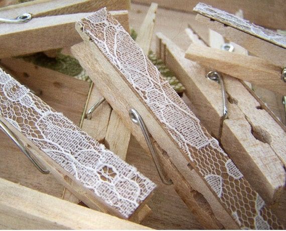 SALE -Lace Clothespins -Antique White -DIY Wedding Accessory -Shabby Chic Wedding -Woodland Wedding -Country Wedding - Top Selling