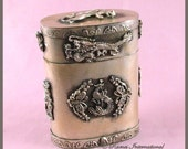 Tibet Antique, Tibetan Silver Medicine Box, Dragons, Phoenix, Frogs, Panther, Butterflies