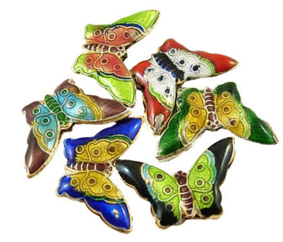 5 pair  assorted Cloisonne Beads, Multicolor, Dark green, Black, and Lime  Butterfly