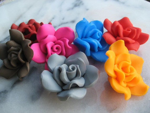 7 Rose assorted Handmade Polymer Clay Beads