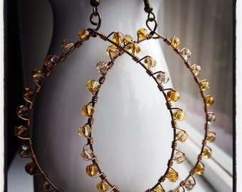 Naturally Loopy-Bronze and Crystal hand wire wrapped hoops, BOHO, champagne, amber, and smokey crystals