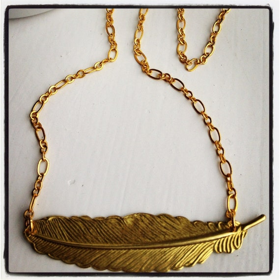 Light as a Feather-Gold Short Chain and Feather Necklace, TRIBAL, Native