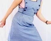 Blue gingham womens pinafore jumper dress