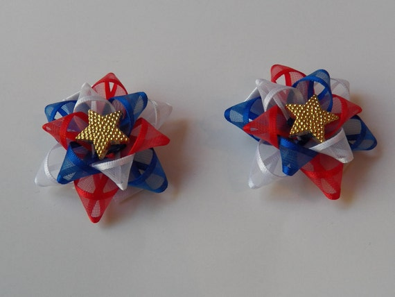 4th of July Hairbow Set in Sheer Red, White and Royal Blue