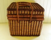Square Two Tone Wicker Basket - Vintage Sewing / Picnic Tote - Three Handled Storage Container